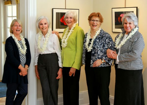 photo: Peter Wallburg Studios.  L-R: Betsy Wesson, Betse Gump, Susan Watts, Millie Cooper, Muggins Badgley. Camera-shy, Gail Malin