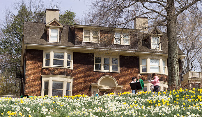 Wisner House during daffodil season, Reeves-Reed Arboretum