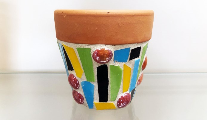 morris county school of glass flower pot mosaic cutting shaping colored sheet glass learn arboretum summit new jersey